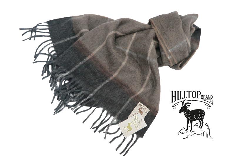 HILLTOP / ヒルトップ マフラー Lambswool×Angora MUFFLERS ( チャコールグレー×チョコブラウン地のチェック柄 )fah03113A3MinkChocolate