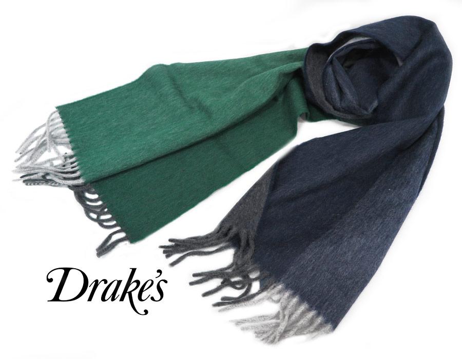 DRAKE'S / ドレイクス マフラー ( 濃紺× 杢調紺× グリーン×杢調グリーン ) 19752-003