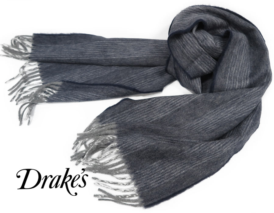 DRAKE'S / ドレイクス マフラー ( グレー系ミックスの杢調ネイビー地に スモークホワイト系ストライプ ) 19754-001