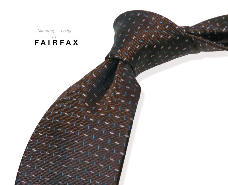 FAIRFAX フェアファクス ハイクオリティ 2020 新作 ハンドメイドにこだわったネクタイ ブラウン地にラベンダー×ダークブルーの小紋柄 送料無料 小紋タイ お見舞い PO-FK132 あす楽対応