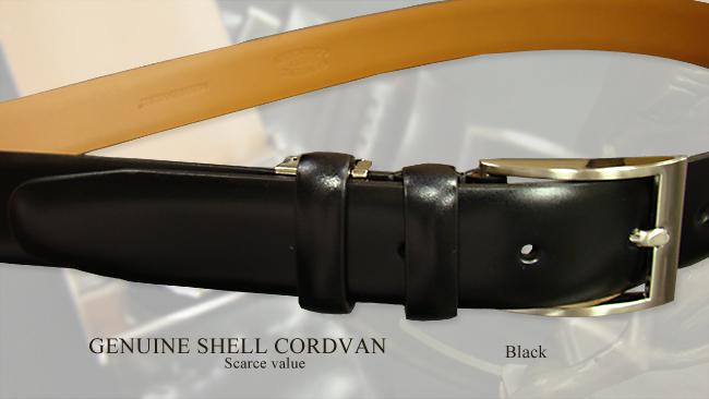 希少シェルコードバンベルト [ Shell Cordovan Belt ] ( ブラック / シルバーバックル ) 21416 コードバン ベルト 【あす楽対応】