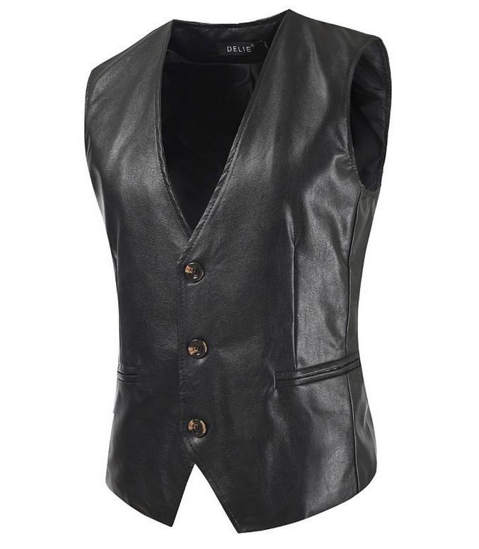 レザーベスト メンズ ベスト 男性 送料無料 袖なし トップス ビジネス 紳士服 おしゃれ フォーマル PU