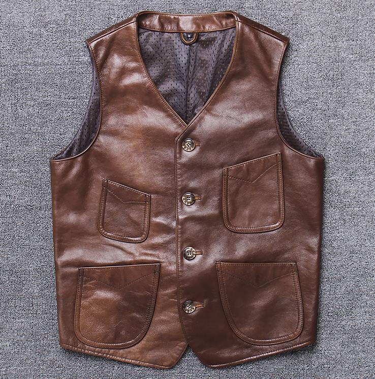 本革ベスト 無地 茶色 スキンシップ 羊革 バイク アウター 袖なしジャケット 春 秋 カジュアル 送料無料 メンズ