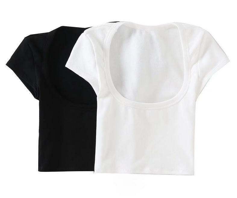 レディース 半袖 トップス カジュアル 卓抜 夏 Uネック セクシー Tシャツ 倉庫 短いタイプ