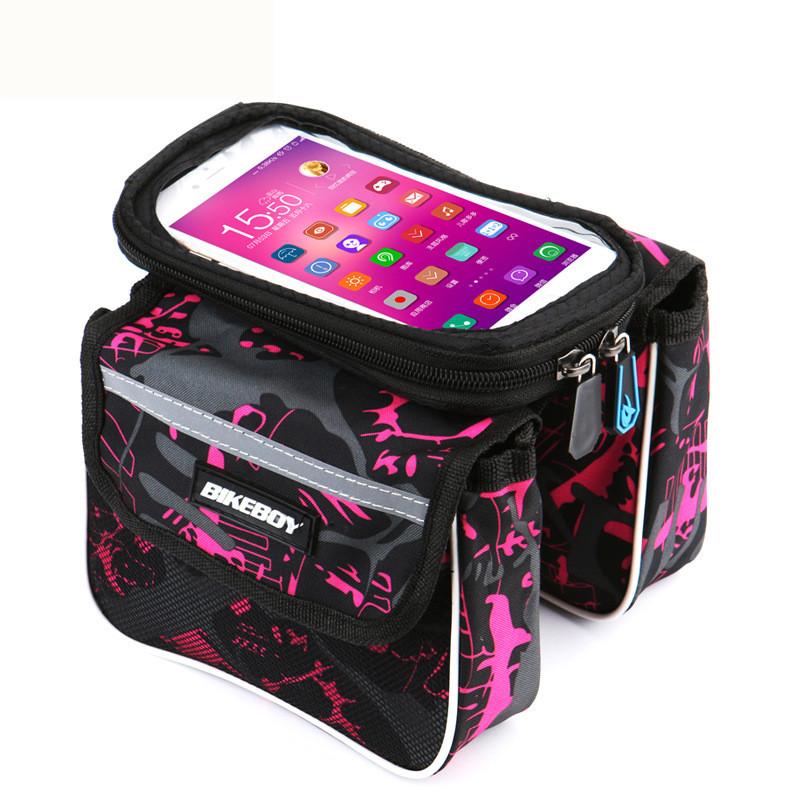 タッチ機能 ダブルチャック 6.2inch マーケット 自転車フレームバッグ 安全 フロントバッグ 防水カバー 自転車 マジックテープで固定 鞄 サイクルバッグ 通用