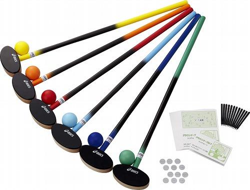 <アシックス> GROUND GOLFラケット スティク バット クラブ・樹脂ボール6色セット GGG113-F