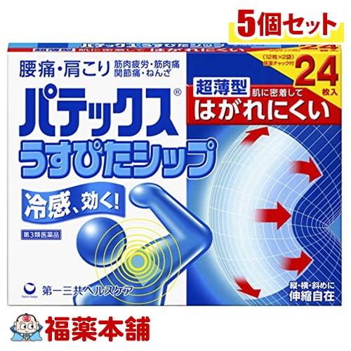 【第3類医薬品】パテックス うすぴたシップ(24枚入)×5個 [宅配便・送料無料] 「T80」