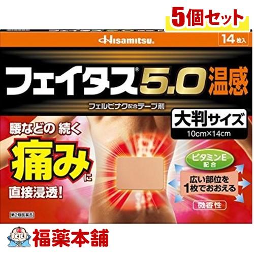 【第2類医薬品】☆フェイタス5.0 温感 大判サイズ(14枚入)×5個 [宅配便・送料無料]