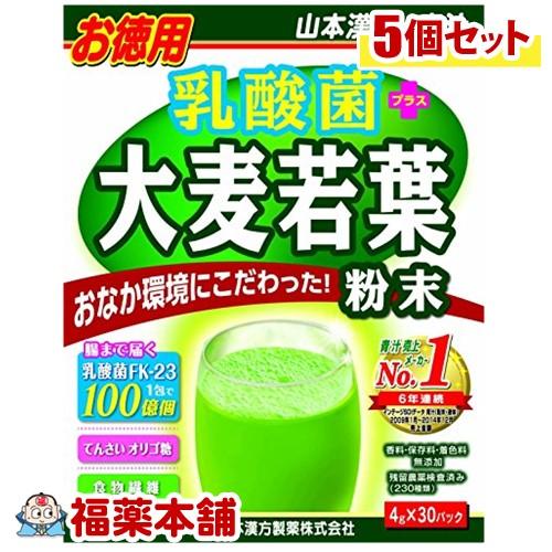 山本漢方 乳酸菌 大麦若葉 粉末(4gx30包)×5個 [宅配便・送料無料] 「T100」