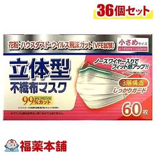 リブ・ラボラトリーズ 立体型不織布マスク 小さめ 60枚×36箱(1ケース) [宅配便・送料無料] 「T140」
