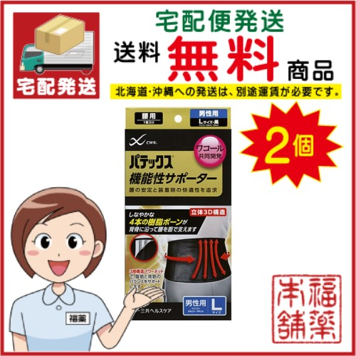パテックス機能性サポーター 腰用L 黒×2個【宅配便・送料無料】