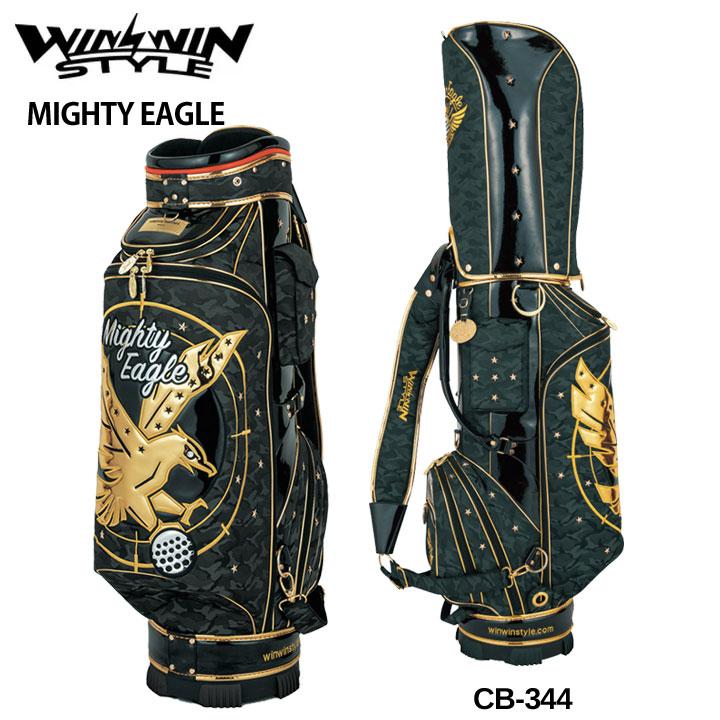 【2019モデル】ウィンウィンスタイル 「マイティイーグル ブラック CB-344」MIGHTY EAGLE CART BAG BK GOLD Version ゴルフキャディバッグ WINWIN STYLE