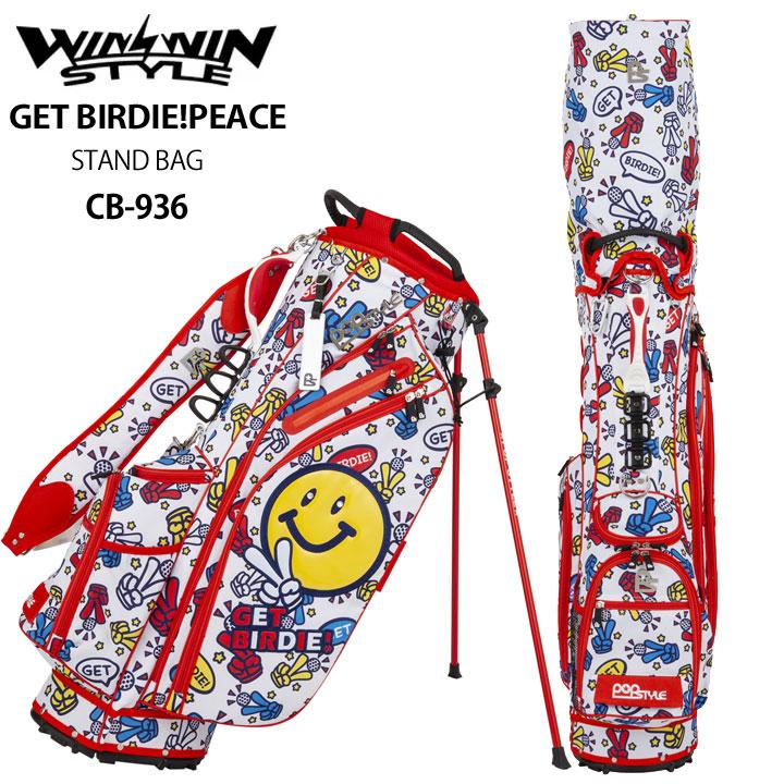 【2019モデル】ウィンウィンスタイル 「ゲットバーディ!ピース レッド CB-936」GET BIRDIE! PEACE LIGHT WEIGHT STAND BAG ゴルフキャディバッグ WINWIN STYLE POPSTYLE