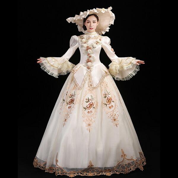 【サイズ有S/M/L/XL/2XL/3XL】送料無料 ワンピース 貴族 ドレス ステージ衣装 舞台衣装 オペラ声楽 中世貴族風 お姫様ドレス 貴族ドレス パーティー 中世 ドレス ファスナータイプ 貴族 衣装 大きいサイズ 貴族 プリンセスライン 刺繍 長袖 Aライン ベージュda732s1