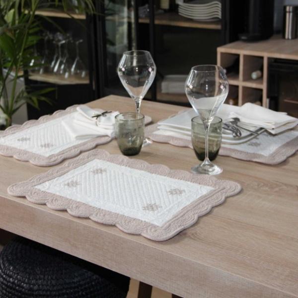 南仏プロヴァンスから届いた テーブルマット ランチョンマット FRANCE ブティ Bouts 百貨店 通販 ECRU ラベンダー LAVENDER 長方形 レクタングル