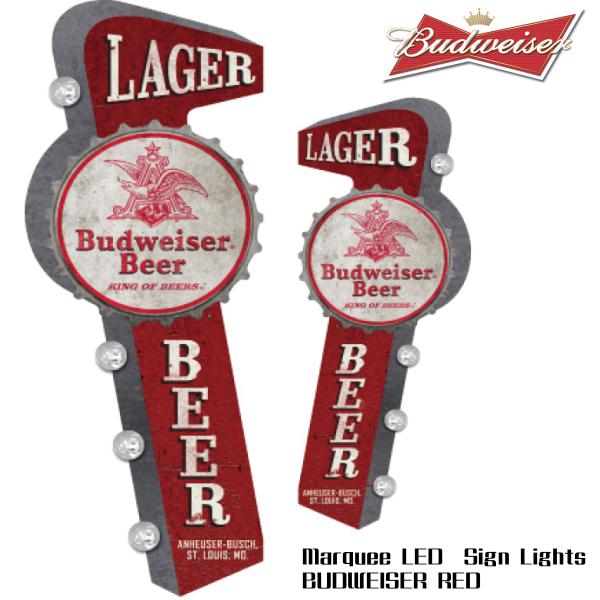 マーキーLEDサインライト BUDWEISER BEER RED バドワイザービール 電飾看板 メタルのサインプレート ガレージ  看板 ガレージグッズ アメ雑貨 ビールグッズ バドワイザー ビール