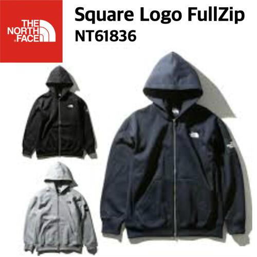【THE NORTH FACE ノースフェイス】Square Logo FullZip スクエアロゴフルジップ スウェット 裏起毛 メンズ NT61836 国内正規 20%OFF