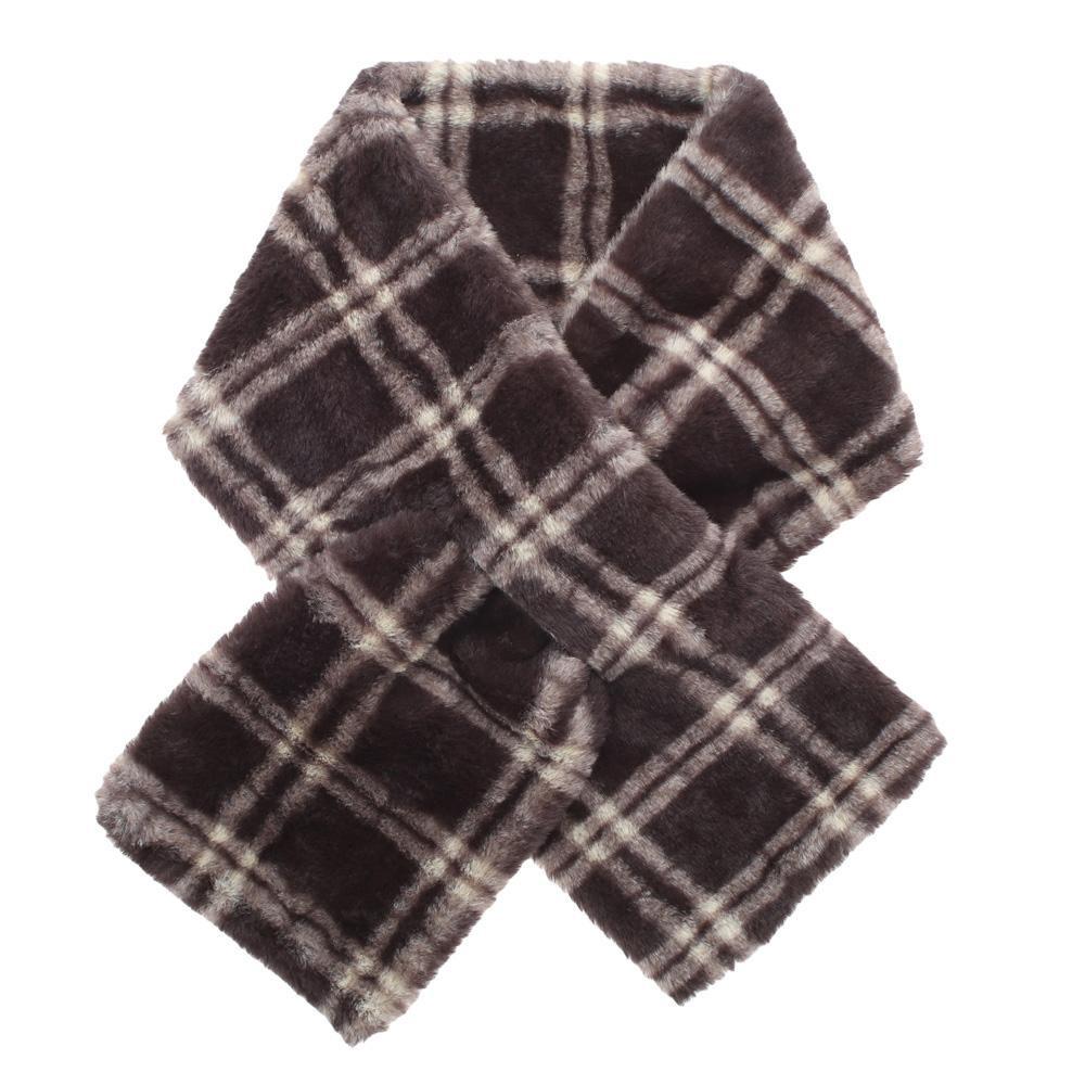 リボンのようなクロスティペット アウトレットセール 特集 大人気 クロスティペット チェックファー ブラウン 13219602071
