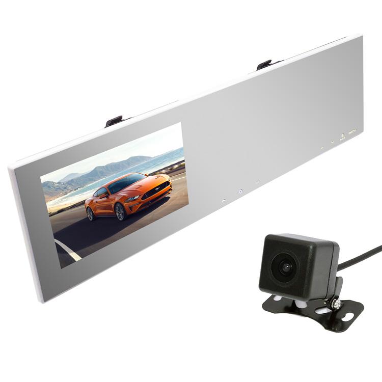 ルームミラー型ドライブレコーダー+ガイドライン切替可バックカメラセット 4.3インチモニター内蔵 地デジノイズ対策 高画質CCDカメラ 広角レンズ 12V 日本車対応仕様 右ハンドル向け KAIDU100B021
