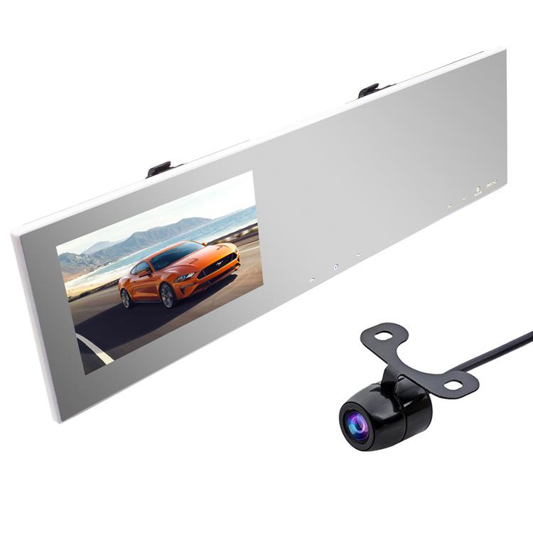 ルームミラー型ドライブレコーダー+小型防水バックカメラセット 4.3インチモニター内蔵 地デジノイズ対策 高画質カメラ 広視野角レンズ 12V 右ハンドル向け KAIDU100BK200