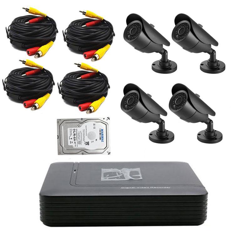 防犯DVRレコーダー+カメラ4台+20m延長ケーブル4個+HDD(1TB)セット マウス付き操作便利 DVRレコーダーセット HDDフルセット DVR1004FUSET