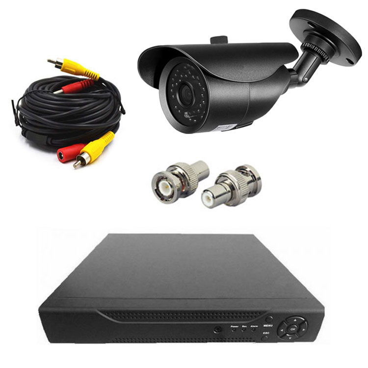 4CHデジタルレコーダー+CCTVカメラ+20M映像ケーブル 防犯カメラセットBNC端子4個付き 防水防犯カメラ DVR6004CT100SET