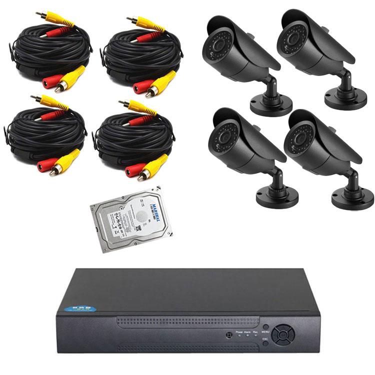 防犯DVR+カメラ4台+20m延長ケーブル4個+HDD(1TB)セット マウス付き操作便利 高性能 レコーダー フルセット DVR6004FUSET