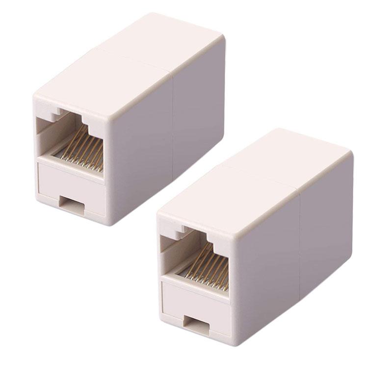 長さが足りない時に継ぎ足し LANケーブル用中継コネクタ 正規認証品 新規格 2個セット RJ-45 コンパクト アイボリー限定 メス-メス ギガビット RJ45CSET2 『1年保証』