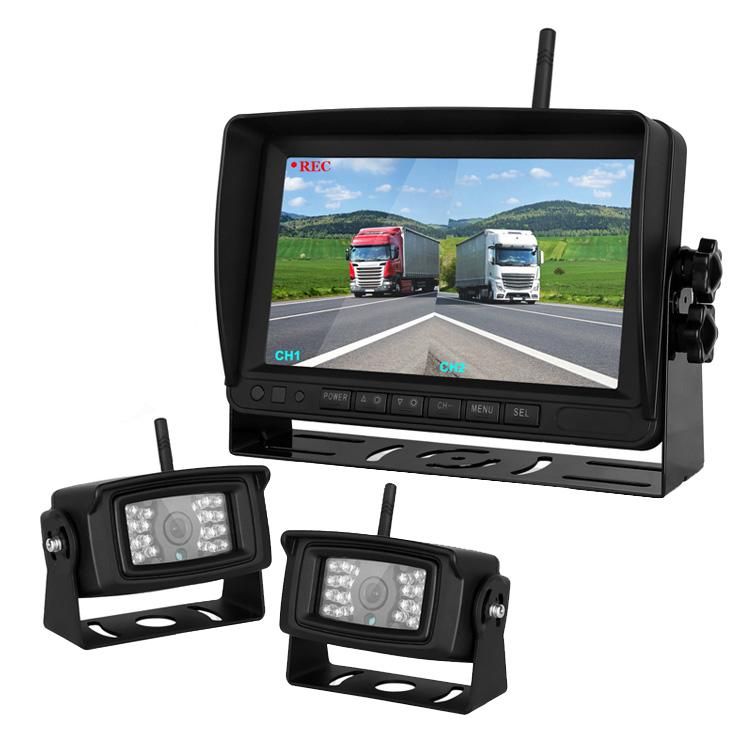トラック用ドライブレコーダー 無線カメラ2個セット 2分割映像確認 7インチDVR+ワイヤレスバックカメラセット 同時録画可 日本語メニュー 12-24V汎用 YWX78D02