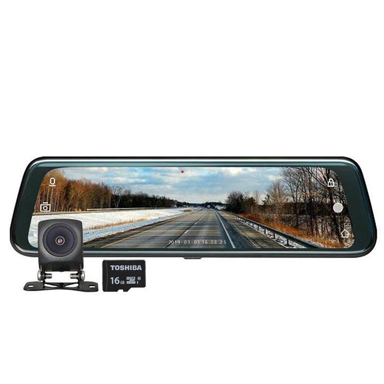 EONON 広角ミラー型ドライブレコーダー 9.66インチ タッチパネル バックカメラ映像 ミラー全画面 交通事故 記録 あおり対策 フルHD 東芝Class10 16GB付き R0013G16TF