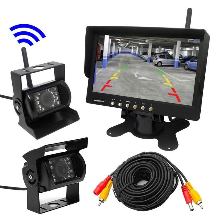 無線バックカメラセット 赤外線暗視機能 ワイヤレスで大型車でも楽々接続 広角120度レンズ 高解像度7インチモニター OMT76SETPRO