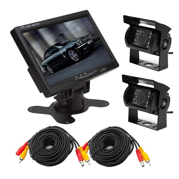 バックカメラセット(カメラ2台) LED18灯 接続用20mケーブル×2 DC12/24V対応 IP67防水仕様赤外線暗視カメラ 7インチオンダッシュモニター OMT72SET