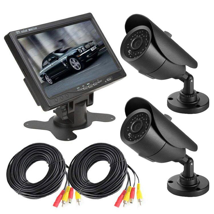 監視カメラ2台+モニターセット VGA入力対応モニター 赤外線暗視仕様 屋外用 7インチ VGA7+CB20B101X2