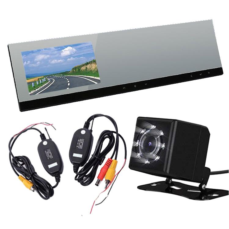 超薄型 ルームミラードライブレコーダー+ワイヤレスバックカメラセット 4.3インチミラーモニター ワイヤレストランスミッター リアカメラ お得3点セット VC100WBTBK801