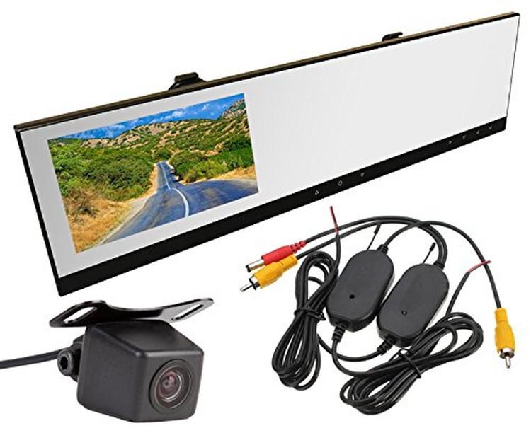 ワイヤレスキット+バックカメラ+4.3インチルームミラードライブレコーダー 3点セット 720P録画ドラレコ 防水仕様カメラ 無線キット 薄型ブラックミラー VC100WBT100A0119N