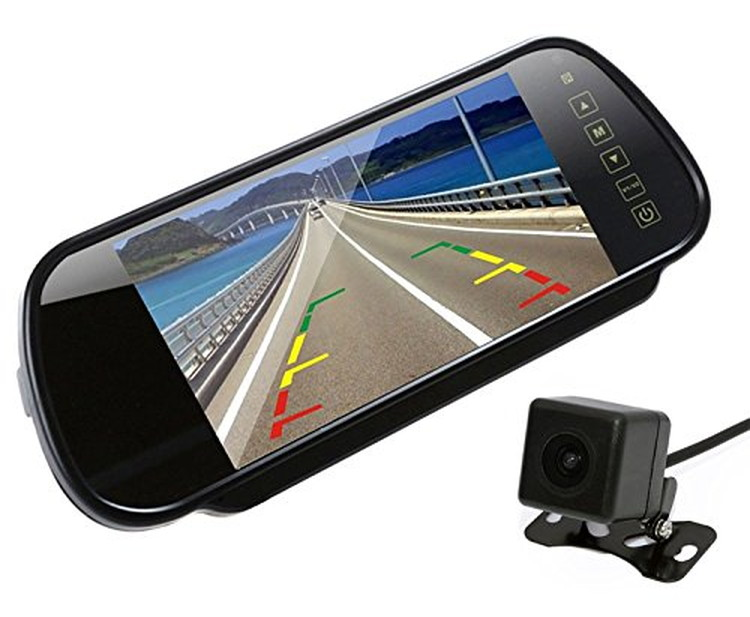 7インチ大画面ルームミラーモニター+バックカメラセット ルームミラー型モニター リモコン付き ビデオ2チャンネル 12V小型防水バックカメラ ガイドライン切替可 RM70+B021