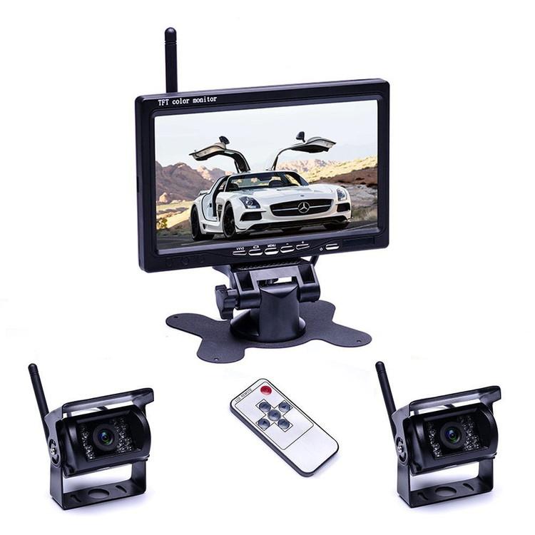 7インチモニター+カメラ2個搭載ワイヤレスバックカメラセット 防水 暗視 無線簡単取り付け 12-24V兼用 2チャンネル トラック トレーラーなど適用 OMT78SET