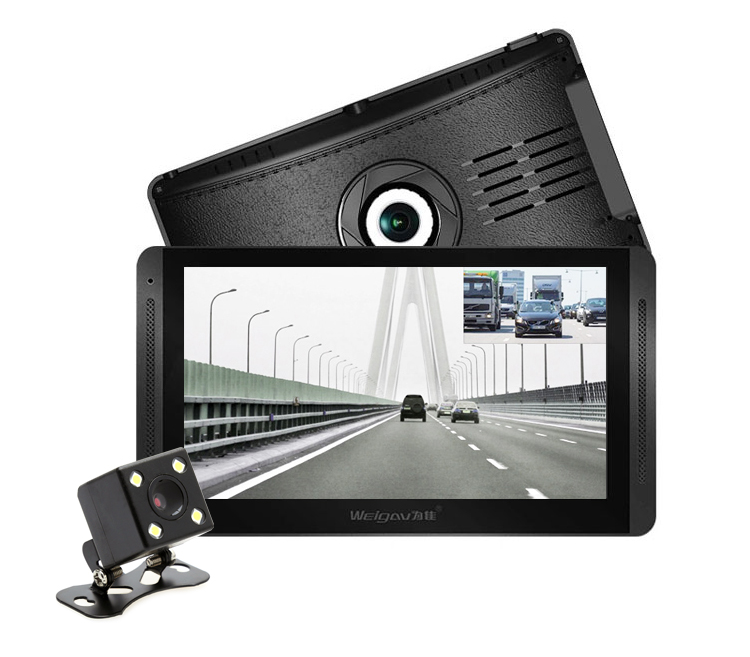 12/24V車対応 7インチ液晶モニター搭載ドライブレコーダー 暗視仕様バックカメラ付属 前後カメラ同時記録 1080P Gセンサー搭載 循環録画 大型車向け DRU230