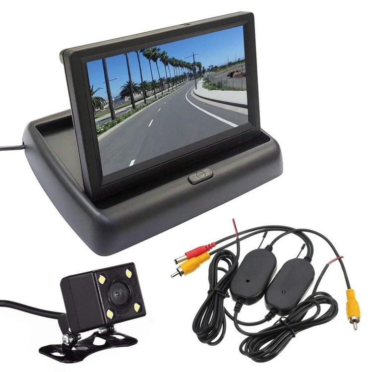 5インチフリップアップモニターとバックカメラとワイヤレス配線キットお得な3点セット 折り畳み式 映像入力2 正像・鏡像・ガイドライン切替 12V専用 MOT50WBTBK800