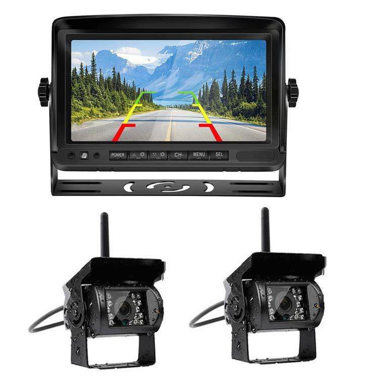 デジタルワイヤレスバックカメラセット モニター2分割表示 暗視可 大型車、トラックに 12-24V対応 デジタル無線カメラ2個 映像同時表示 デジタル信号転送安 PZ607W2