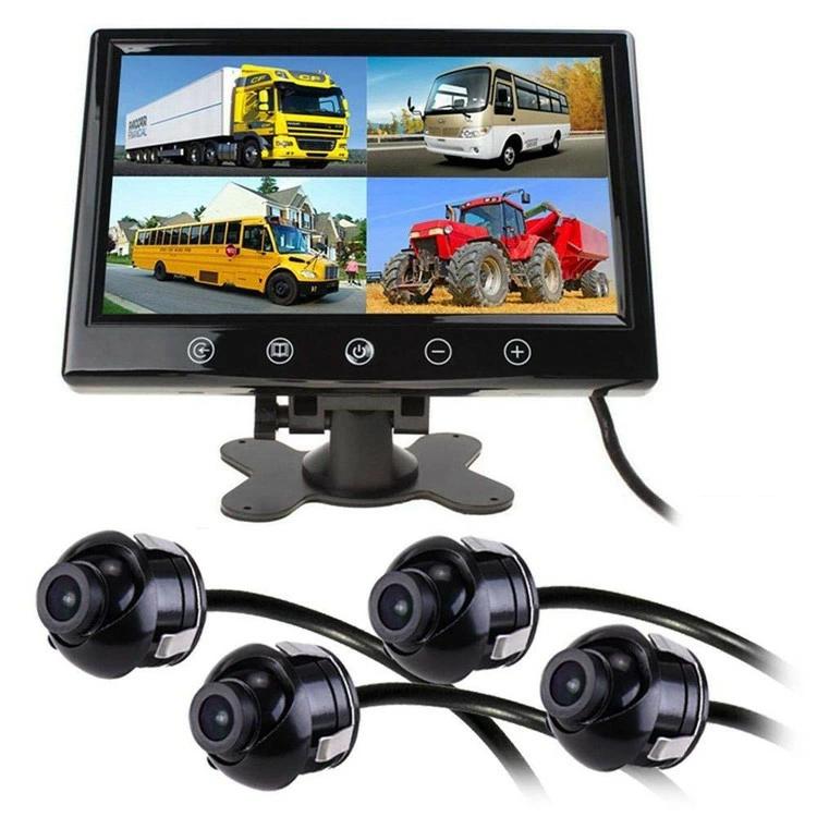 超小型バックカメラ4台付き 9インチ4分割モニターセット 埋め込みタイプCMOSカメラ4台 防水IP67 正像/鏡像切替 ガイドライン表示切替可 4/2/1画面分割可 MN90A0114SET4