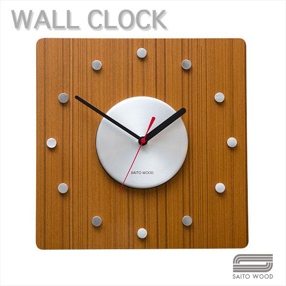 SAITO WOOD サイトーウッド ウォールクロック WALL CLOCK 【 color チーク 】 正方形 シンプル・デザイン・掛け時計 。