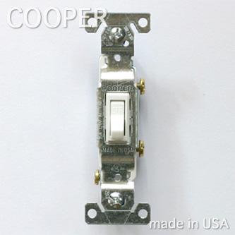 _ COOPER社 照明スイッチ 白 1路 片切りスイッチ アメリカ製 スタイル アンティーク セール ホワイト PSE取得済み ついに入荷