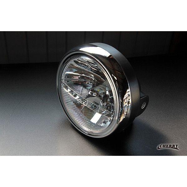 【443】LED ヘッドライトAssy マルチリフレクター メッキ x ブラックケース 汎用 ゼファー400 Z400FX  (CHERRY)