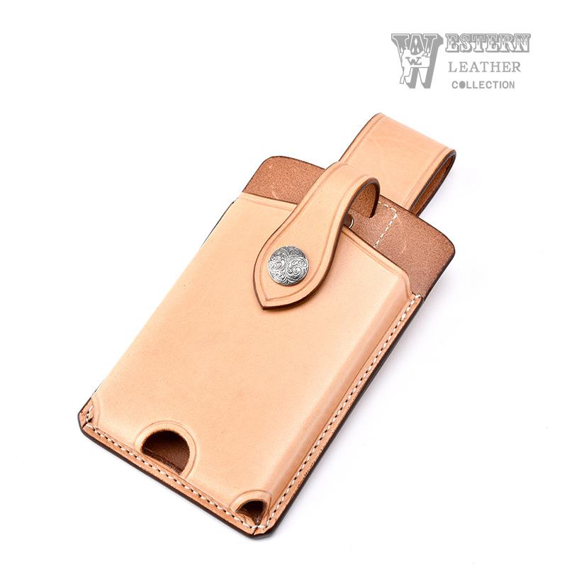 ウエスタンレザー スマートフォンケース タン SMART PHONE CASE TAN 牛革 コンチョ ベルト 携帯 送料無料 ファニー FUNNY WESTERN LEATHER ウエスタンレザー