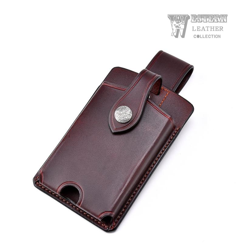 ウエスタンレザー スマートフォンケース ブラウン SMART PHONE CASE BROWN 牛革 コンチョ ベルト 携帯 送料無料 ファニー FUNNY WESTERN LEATHER ウエスタンレザー