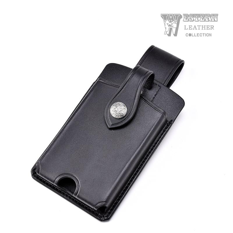 スマートフォンケース ブラック SMART PHONE CASE BLACK 牛革 コンチョ ベルト 携帯 送料無料 ファニー FUNNY WESTERN LEATHER ウエスタンレザー