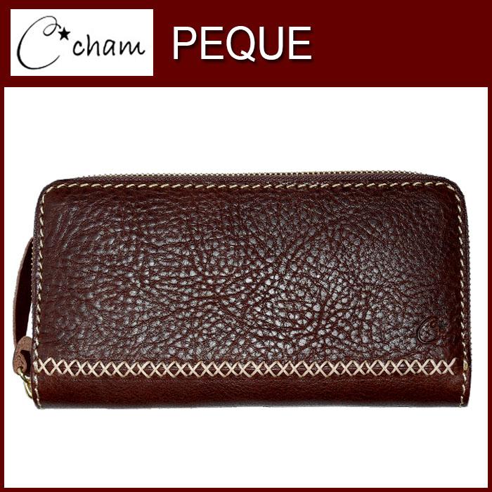 チャム ペケ ジップ ウォレット LXBX-013-BROWN ブラウン cham PEQUE ZIP WALLET 素材の風合いを壊さないようシンプルで出来るだけ切り替えを少なく、そして暖かいシルエットをテーマにデザイン 財布 革