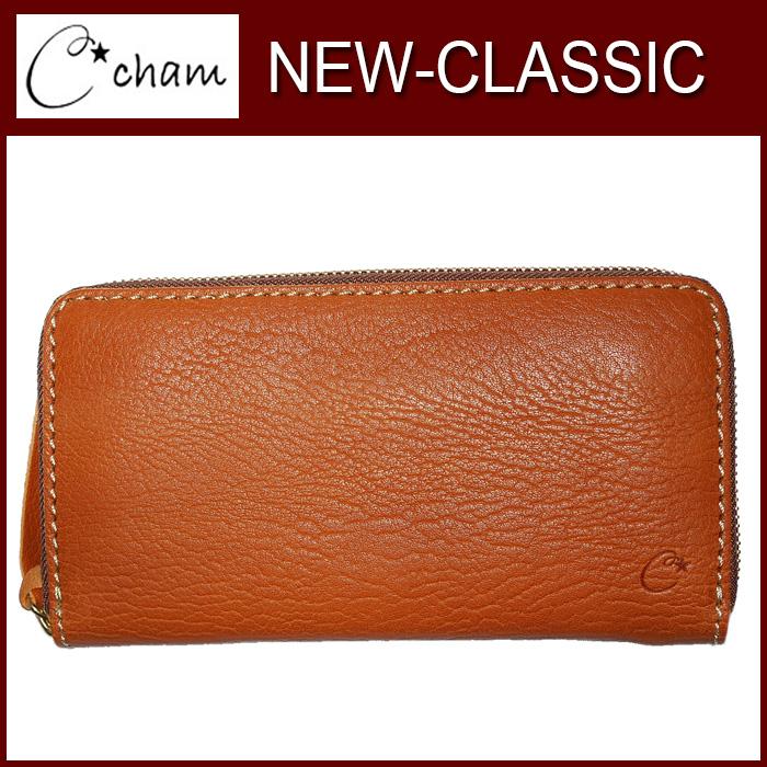チャム ニュークラシック CMJS-007 CHAM 製品完成後水分を加えて擦むことによりボリュームがある自然な仕上がり。 財布 革プレゼント キャメル