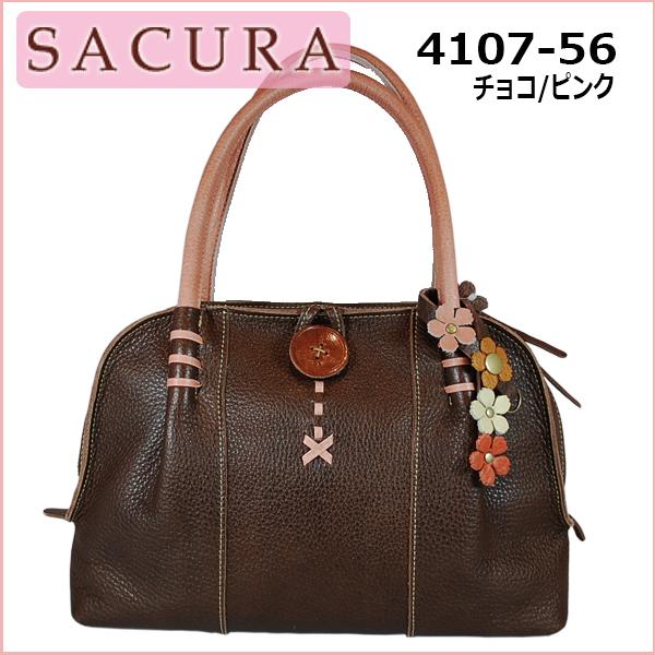 SACURA FLORESCO 4107-56 チョコ ピンク【送料無料】【日本製】ハンドバッグ レディースバッグ バッグ サクラ